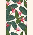 seamless pattern banana leaf with pink bird