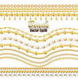 set beautiful chains gold and white beads vector image vector image
