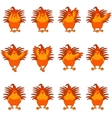 set golden rooster flat icons vector image