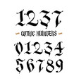 set gothic numbers handwritten latin font vector image