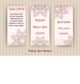 set of 3 vintage lace banner templates vector image vector image