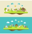 Set of flat design compositions with farm animals vector image vector image