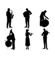 six musicians silhouettes vector image