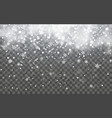 snow with snowflakes and clouds on transparent vector image vector image