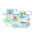 Social communication network vector image