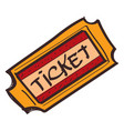 ticket icon with a black outline on a white vector image vector image