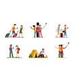 tourist travel and hiking set man and woman walk vector image
