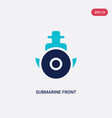 two color submarine front view icon from army and vector image vector image