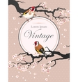 Vintage card with blooming cherry vector image vector image