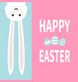 white bunny rabbit hanging upside down big paper vector image vector image
