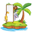 Wild animals and sign on island vector image vector image
