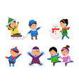 winter smile characters kids snow clothes boys vector image vector image