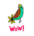 wow lettering and bird doodle vector image vector image