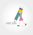 cute little girl holding pencil vector image