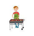 cheerful man cooking sausages on the barbecue vector image