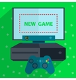 Modern game console green background vector image