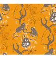 Abstract grungy seamless pattern Trees and monkeys vector image