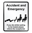 Accident and Emergency Information Sign vector image vector image