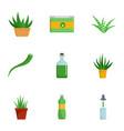 aloe vera cure icon set flat style vector image vector image
