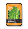 arugula salad leaves with plastic tray container vector image vector image