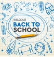 back to school banner doodle on checkered paper vector image vector image