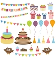 Birthday party elements set vector image vector image
