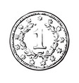 black and white sketch of old coin vector image