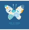 blue and yellow flowersilhouettes butterfly vector image vector image