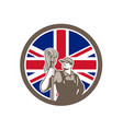 British industrial cleaner union jack flag icon vector image