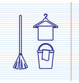broom bucket and hanger sign navy line vector image vector image