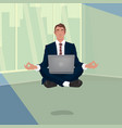 businessman hovering in office in lotus pose vector image vector image