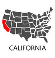 california on map of usa vector image