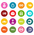 car race icons set colorful circles vector image vector image