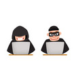 cartoon hackers using laptop for computer attack vector image vector image