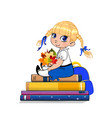 cartoon school girl in uniform sitting on books vector image vector image