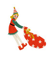 christmas elf character pulling bag full gifts vector image vector image