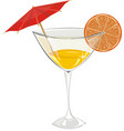 cocktail with orange and a decorative umbrella vector image vector image