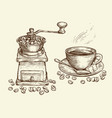 coffee concept sketch vintage vector image