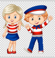 cute boy and girl waving vector image vector image