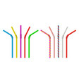 drinking straw realistic classic plastic striped vector image