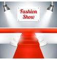 Fashion Show catwalk with a red carpet vector image