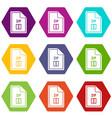 file zip icon set color hexahedron vector image vector image