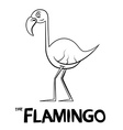 Flamingo Outline Cartoon vector image vector image
