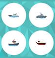 flat icon ship set of sailboat ship transport vector image vector image