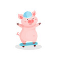 funny pig riding skateboard cute little piglet vector image vector image