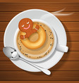 gingerbread with doughnut in cup of hot coffee vector image