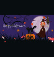 halloween banner with a witch a black cat vector image