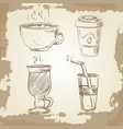 hand drawn coffee tea and lemonade on vintage vector image