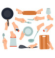 hand hold kitchenware cooking items in female vector image vector image