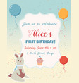 happy birthday invitation card with balloons and vector image